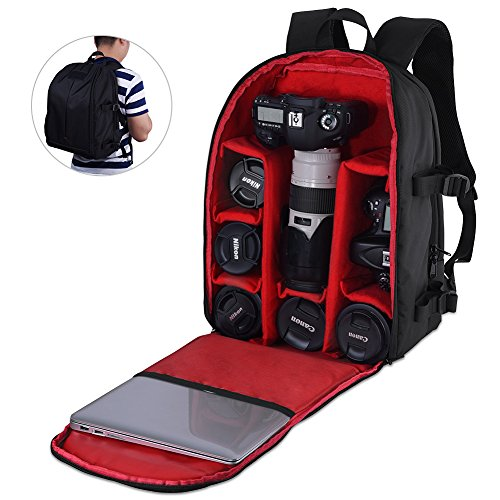 ALLCACA Camera Backpack DSLR SLR Camera Bag and ALLCACA DSLR Camera Shoulder Bag (C - 44*30*19cm)