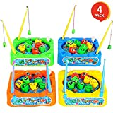 Gamie Wind-up Fishing Game Set for Kids (Pack of 4) | Each Rotating Game Includes 8 Toy Fish and 2 Rods | Great Party Favor/ Carnival Prize/ Gift for Little Boys and Girls