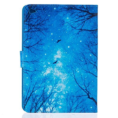 Funda para iPad Mini, Flip funda de cuero PU para iPad Mini 1 / 2 / 3, iPad Mini Leather Wallet Case Cover Skin Shell Carcasa Funda, Ukayfe Cubierta de la caja Funda protectora de cuero caso del sopor Maderas azules
