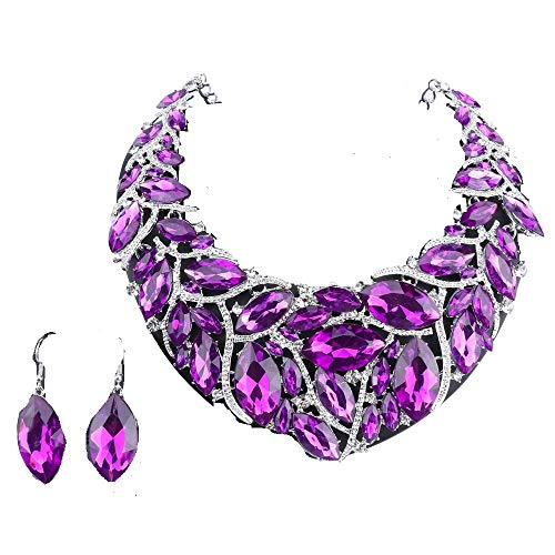 (African Beads Jewelry Sets Women Bridal Crystal Statement Necklace Earring Jewelry Sets (Silver Purple))