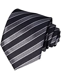 Classic Plaid Striped Necktie for Men Tie Pocket Square Set + Gift Box