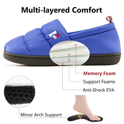 Women's Down Fleece Lined House RockDove Foam Shoes Slippers Indoor Royal Warm Outdoor Blue Memory SFYndxnq