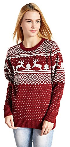 CHRISTMAS Sweater / Cardigan, with Various Lovely Patterns of Reindeer / Snowman / Snowflakes / Tree (L, Deer&Tree)