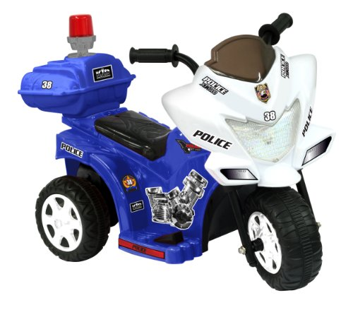 Kid Motorz 6V Lil Patrol In Blue & White With Siren Light & Storage Box Ride On, Blue/White