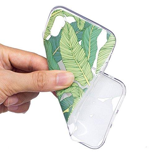 Coque iPhone X Feuilles vertes Premium Gel TPU Souple Silicone Transparent Clair Bumper Protection Housse Arrière Étui Pour Apple iPhone X (2017) 5,8 pouces Avec Deux cadeau