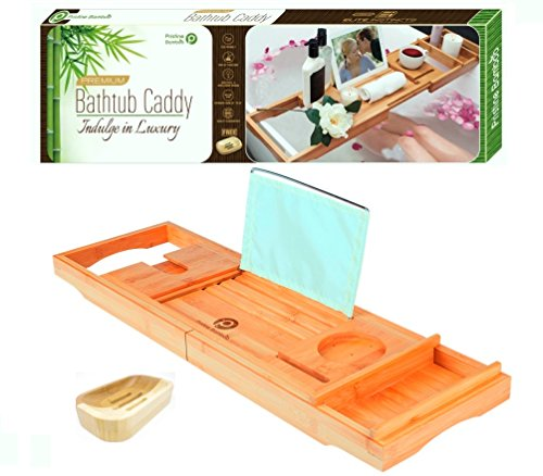 PREMIUM Bamboo Bathtub Caddy Tray - Packed with 12 Features  Wooden Bathtub Tray with Wine Glass Holder, Book Holder, iPad Stand   Expandable Wooden Shelf, Over The Tub Organizer   Great Gift Item