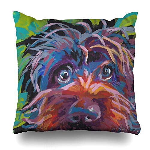 Ahawoso Throw Pillow Cover Square 16x16 Inches Wirehaired Pointing Griffon Bright Colorful Pop Dog Art Decorative Pillow Case Home Decor Pillowcase