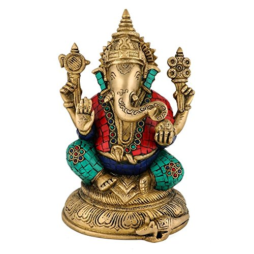 Ganesh Statue- Large Brass Elephant Lord Ganesha Metal Figurine- God of Success and Good Luck- Hand Made Gemstones Artwork India Hindu Deity Sculpture Diwali Gifts