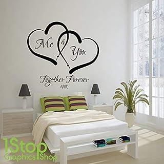 1Stop Graphics Shop - ME AND YOU AMORE CUORE muro adesivo CITAZIONE - Casa decalcomania artistica da parete X338 - Argento, Large