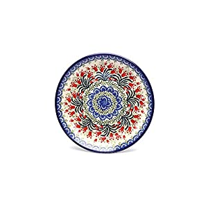Polish Pottery Plate – 7 3/4 Salad/dessert – Crimson Bells by Polish Pottery Gallery