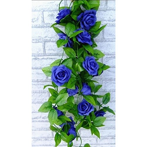 StillCool 8ft Rose Garland Artificial Rose Vine Silk Floral Flower Garland Green Leaf Flowering Vine Home Decor Wedding Decoration (Dark Blue) - Dark Blue Rose