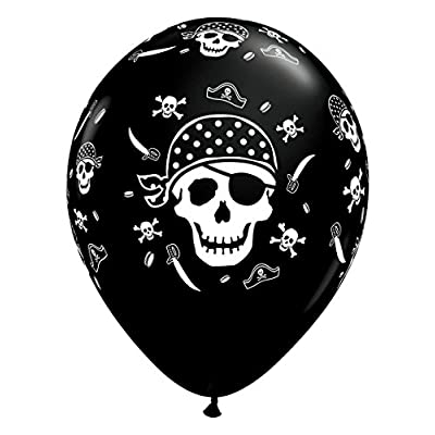 Qualatex Pirate Skull & Cross Bones Biodegradable Latex Balloon,11-Inch Round (10-Units): Toys & Games