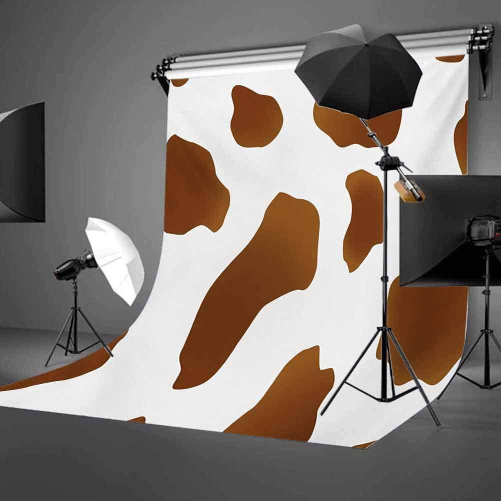Cow Print 10x15 FT Backdrop Photographers,Brown Spots on a White Cow Skin Abstract Art Cattle Fur Farm Animals Cowboy Barn Background for Baby Shower Bridal Wedding Studio Photography Pictures