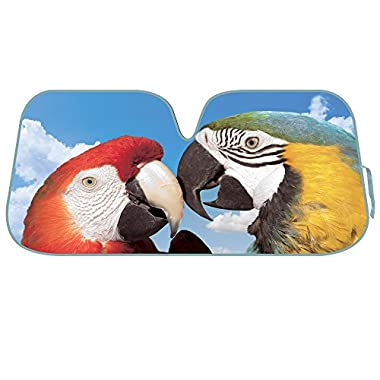 2016 KM WORLD Licensed 2 MACAWS Auto Shade Cool Trending Large Birds Pet Designs Sunshade with Reversible Silver Backing