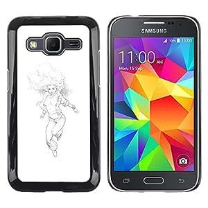 Be Good Phone Accessory // Dura Cáscara cubierta Protectora Caso Carcasa Funda de Protección para Samsung Galaxy Core Prime SM-G360 // Woman Boobs Running Pencil Drawing Art