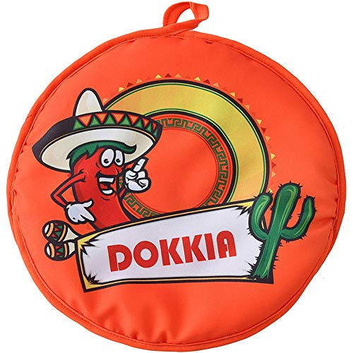 (DOKKIA Tortilla Warmer 12 Inch Insulated Cloth Pouch - Microwavable Use Fabric bag to Keep Food Warm for up to One Hour (12 Inch, Chili Pepper Cactus))
