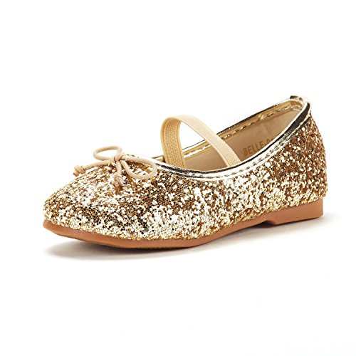 DREAM PAIRS Toddler Belle_01 Gold Girl's Mary Jane Ballerina Flat Shoes Size 7 M US Toddler