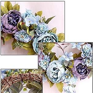 Luckycyc Peony Artifical Garland Door Hanging Decoration Wedding Flower Photography Wedding Flower Wreath Living Room Floral Decoration 2