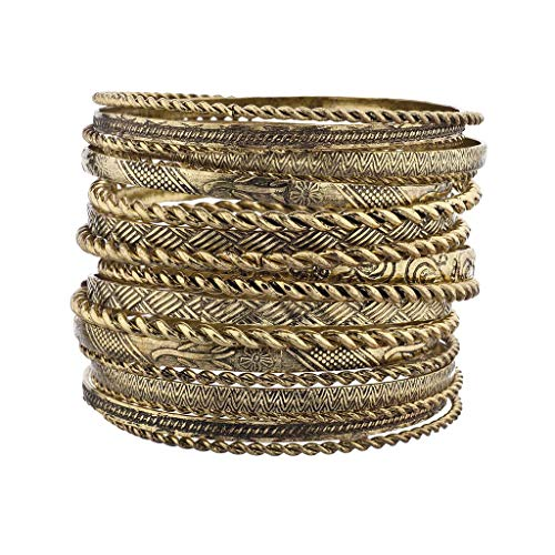 Lux Accessories Flower Mixed Metal Aztec Multi Bangle Set Burnish Gold]()