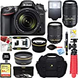 Nikon D7200 DX-format Black Digital SLR Camera Kit (1555) + AF-S 18-140mm & 55-300mm ED VR Lens + Accessory Bundle