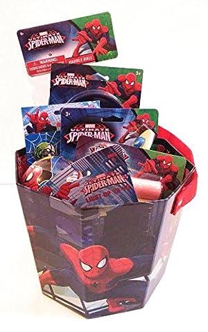 Spiderman Bucket of Fun Paddle Ball Light-Up Yo-Yo Glider Chalk Mini Buttons Bubbles Ball and Pez - Mini Bubble Bucket