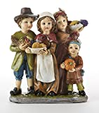 Delton Products Resin Pilgrim Kids with Harvest 3.5 Inches x 4.1 Inches Holiday Figurines