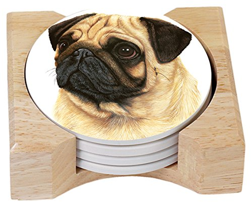 Pug Coaster (Counter Art Absorbent Coasters Pug In Wooden Holder, Set of 4)