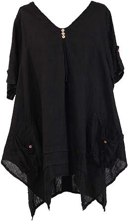Italian Ladies Lagenlook Quirky Plain Basic Ruffle Front Button Plus Size Shirt