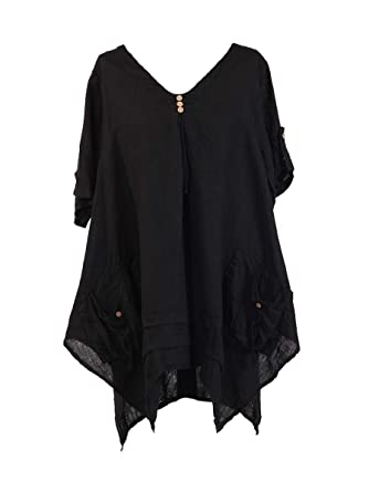 ded95c2460e New Ladies Italian Quirky Lagenlook Tunic Top women Linen Tunic Blouse Plus  Sizes (Black)