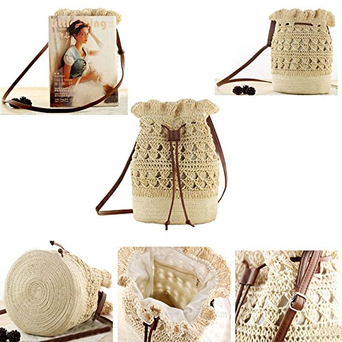 Shoulder H Small Straw Hobo Hasp Pompom Large Ball Straw Bag Bucket Out Drawstring Bag Beaded Hollow Bag Handle Abuyall Woven Bamboo TURaqw6