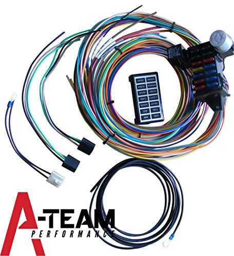 A-Team Performance 14-Circuit Basic Wire Kit Small Wiring Harness Cable Compatible with Rat Street Rod Sand Car -