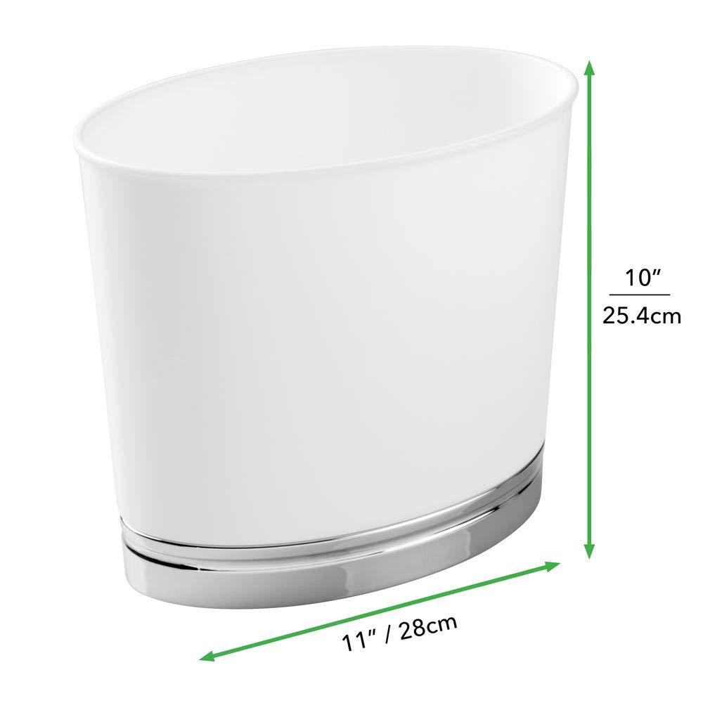 Cucina Bianco//Cromato mDesign Cestino Rifiuti Ovale per Bagno Ufficio