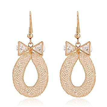 54a854e0c767 Boda Xinmaoyuan Joyas Zircon Aretes Bisutería Bow aretes de malla Zarcillo  de Oro