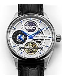 Skeleton Dress Analog Watch for Men, Dual Time Automatic Wristwatch, Stainless Steel, Calfskin Leather Strap, White Dial with Blue Accents