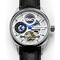 Skeleton Dress Analog Watch for Men, Dual Time Automatic Wristwatch, Stainless Steel, Alligator Leather Strap, Blue Black and Gold Tone Accents