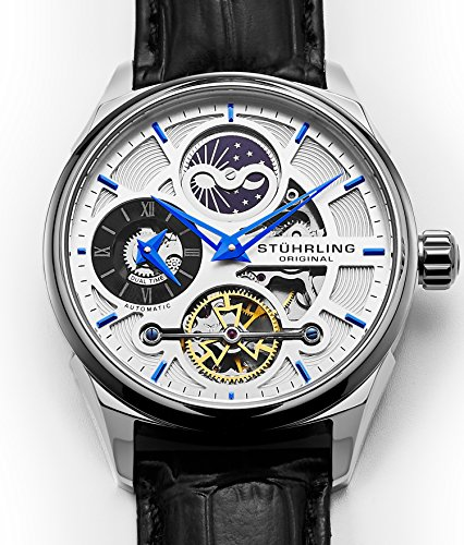 Stuhrling Original Skeleton Dress Analog Watch for Men, Dual Time Automatic Wristwatch, Stainless Steel, Calfskin Leather Strap, White Dial with Blue Accents