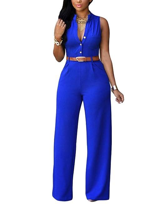 dce99c20392 Elegante Sin Mangas Monos Mujer Larga Pantalones Jumpsuit De Fiesta Boda  Clubwear con Cinturón  Amazon.es  Ropa y accesorios