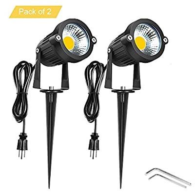 Onerbuy Bright Outdoor LED Landscape Lighting 5W COB Garden Wall Yard Path Lawn Light Lamp Spiked Stand Power Plug, Pack of 2