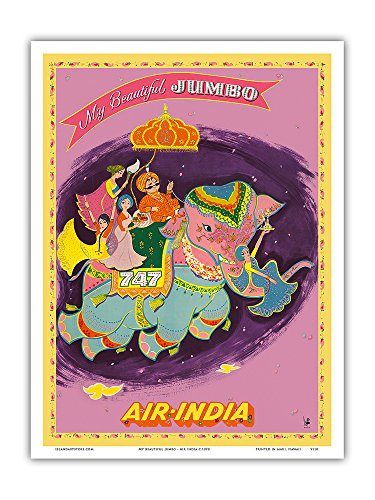 My Beautiful Jumbo - Boeing 747 Jumbo Jet - Air India - Vintage Airline Travel Poster c.1970 - Master Art Print - 9in x 12in