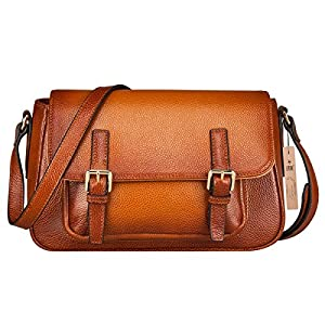 S-ZONE Women's Vintage Genuine Leather Crossbody Bag Shoulder Satchel Handmade Purse Brown