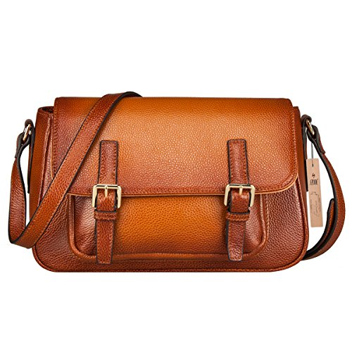 S-ZONE Women's Vintage Genuine Leather Crossbody Shoulder Satchel Bag Handmade Purse Brown