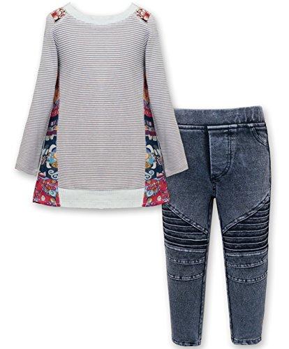 Girls' Long Sleeve Embellished Top & Bottom Set, 2-6X, 7-14 (8, Heather Pink (Saras Prints Girls 2 Piece)