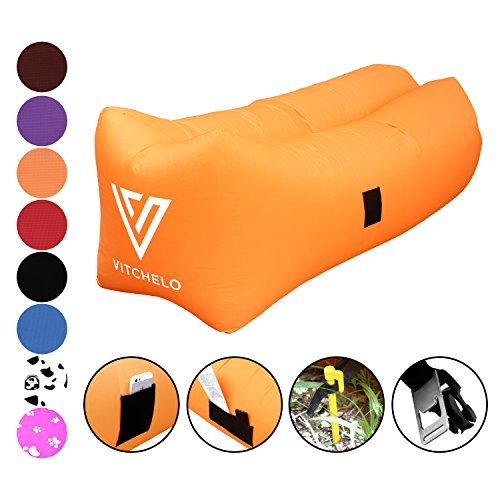 VITCHELO Inflatable Lounger Sofa Couch Chair Seat & Air Bag. Ripstop Lazy Bag Suitable for Camping Beach Park & Festivals. Supports Up to 400lbs. 8.2 ft Long. Portable Foldable & Tear Free (Orange) (Chair Lounge Banana)
