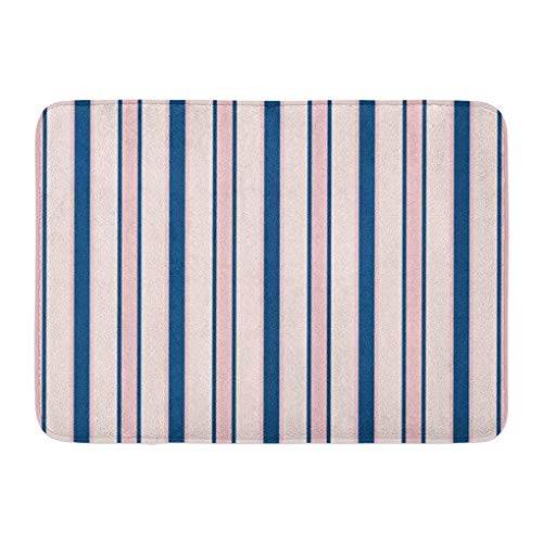 YGUII Doormats Bath Rugs Outdoor/Indoor Door Mat Stripes Modern in Colors Rose Pink Navy Blue Abstract Striped Thin Parallel Lines Cute for Babies Boys Bathroom Decor Rug Bath Mat 16X23.6in (40x60cm)