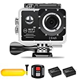Action Camera Full HD 1080P Wifi Waterproof Sports Camera 30fps 2.7K 30fps 1080P 30fps 720P 120fps Video Camera 12MP Photo and 170° Wide Angle Lens includes Mountings Kit 2 Batteries Buoyancy (black)