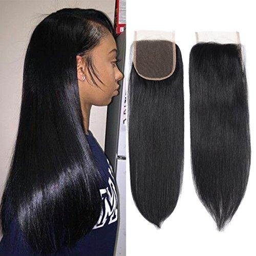 Fumigirl 100% Unprocessed Human Hair Closure Top Closure Brazilian Straight Lace Closure Human Hair Free Part (14inch) - Human Hair Top