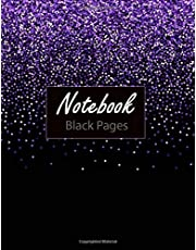 """Notebook ( Black Pages ): 100 Pages 8.5"""" x 11"""" Lined Blank Black Paper Notebook, is Perfekt for White ink and Gel pens. Sky Cover Blue Frame Creativity Hand Lettering Journal"""