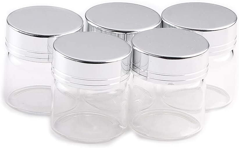 20ml Empty Jars Glass Bottle Storage with Aluminium Screw Lid Silver Metal Cap Sealed Liquid Food Pill Jewelry DIY Gift Container Jars 6 Units (6, 20ML-Silver Cap)
