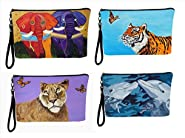 Large Vegan Wristlet, Pencil Bag, Cosmetic Bag with Charm- From My Original Paintings - Support Wildlife Conservation, Read How