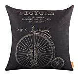 """LINKWELL 18""""x18"""" Retro Black Penny-farthing Bicycle Classic Burlap Cushion Covers Pillow Case (CC1100)"""